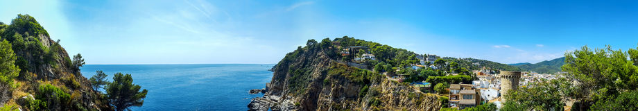 Top panorama view of the coast with rocks. Spain, Tossa De Mar Royalty Free Stock Photography