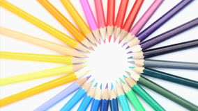 Top part of color pencils turning stock video footage