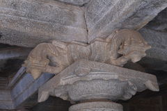 The top part of a column in the Hindu temple Stock Photos