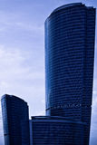 Top part of dark blue modern skyscrapers Stock Photography