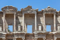 Top part of Facade of the Library of Celsus Royalty Free Stock Image