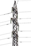 Top part of isolated electrical steel pylon Stock Photo