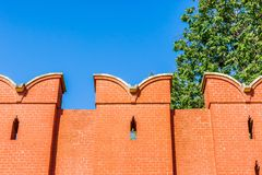 Top part of Moscow Kremlin wall Stock Photo