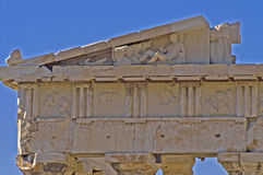 Top part of Parthenon. In Athens Royalty Free Stock Photos