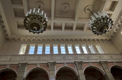 Top part of railway hall of Ruse station. Bulgaria Royalty Free Stock Photography