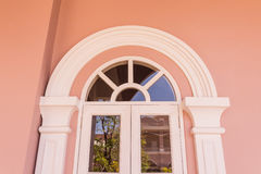 Top part of window on top of door of Chino-Portuguese architectu Royalty Free Stock Photography