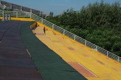 Top part of yellow stair. Stock Photography
