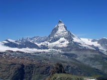 Top peak of the Matterhorn in Switzerland Stock Photos