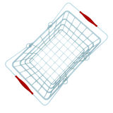 Top perspective metal blue shopping hand basket Royalty Free Stock Photos