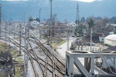 Top perspective view on a railway branching. Bar, Montenegro, January, 24, 2019: Top perspective view on a railway branching. Sort Facility. Railroad tracks and stock photos
