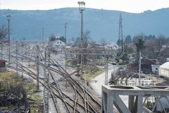 Top perspective view on a railway branching. Bar, Montenegro, January, 24, 2019: Top perspective view on a railway branching. Sort Facility. Railroad tracks and royalty free stock photography
