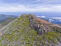 Top of Pico Ruivo mountain, Madeira island, with clouds below . Royalty Free Stock Photos