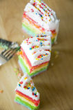 Top of pieces rainbow cake Stock Images