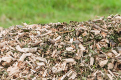 Top of a pile with woodchips Royalty Free Stock Images
