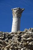 Top of the pillar and stone wall in Carthage, Tunisia Stock Images