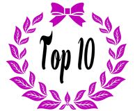 TOP 10 with pink laurels ribbon and bow. Illustration concept Stock Photos
