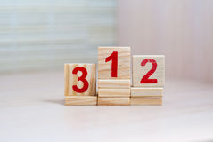 Top places. First place. Wooden blocks with numbers. Royalty Free Stock Photos