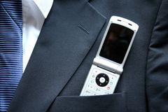 Top Pocket. Business suit top pocket with a mobile phone stock photography