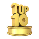 Top 10 on Podium Isolated. On white background. 3D render Royalty Free Stock Photography