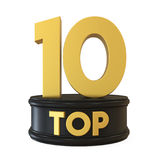 Top 10 on Podium Isolated. On white background. 3D render Royalty Free Illustration