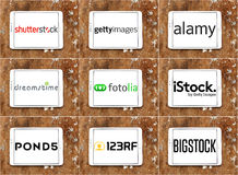 Top popular stock photography websites logos Stock Photos