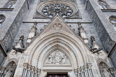 Top of portal of the cathedral Stock Image