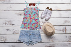 Top with print and shorts. Royalty Free Stock Image