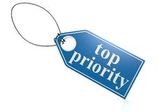 Top priority label Stock Photo