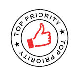 Top Priority rubber stamp. Grunge design with dust scratches. Effects can be easily removed for a clean, crisp look. Color is easily changed Stock Image