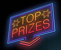 Top prizes concept. Illustration depicting an illuminated neon sign with a top prizes concept Royalty Free Stock Photos