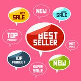 Top Product, Best Seller, New Flat Vector Icons. Top Product, Best Seller, New Flat Vector Labels Royalty Free Stock Images