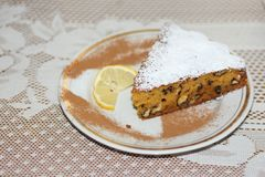 Top of pumpkin walnut pie. Royalty Free Stock Images
