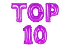Top 10, purple color stock photo