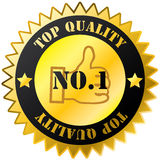 Top quality golden sticker with text Stock Images