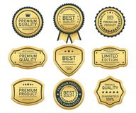 Top quality label gold on white background. Label of quality product gold on white background Stock Illustration