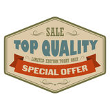 Top quality sale vintage banner. Retro label with brown ribbon on a white background Stock Photo