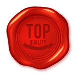 Top quality text on vector red wax seal Royalty Free Stock Photography