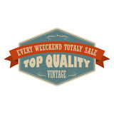 Top quality vintage banner. Retro label with brown ribbon on a white background Stock Photography