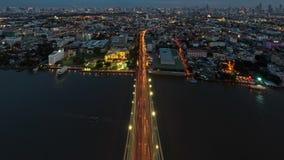 The Top of Rama 8 Bridge, Bangkok city time-lapse, Thailand.  stock video