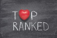 Top ranked heart. Top ranked phrase handwritten on chalkboard with red heart symbol instead of O Royalty Free Stock Images