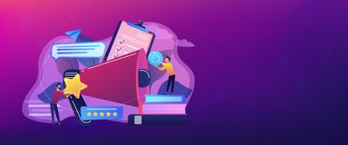 Top-ranking concept banner header. Megaphone and businessmen rate with stars and thumb up icons. Rank and rating scale, high-ranking, top-ranking concept on royalty free illustration