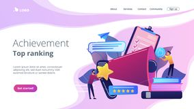 Top-ranking concept landing page. Megaphone and businessmen rate with stars and thumb up icons. Rank and rating scale, high-ranking, top-ranking concept on stock illustration