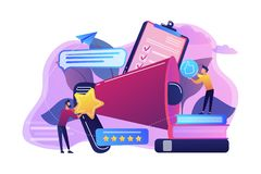 Top-ranking concept vector illustration. Megaphone and businessmen rate with stars and thumb up icons. Rank and rating scale, high-ranking, top-ranking concept stock illustration