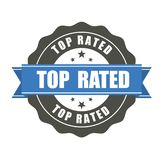 Top Rated badge - award sticker. Top Rated badge - blue award sticker Stock Photo