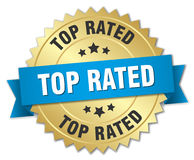 Top rated 3d gold badge. With blue ribbon Stock Images