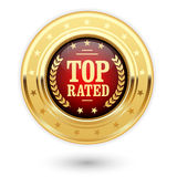 Top rated medal - rating insignia. Top rated medal - rating golden insignia Royalty Free Stock Photo