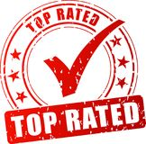 Top rated red stamp. Illustration of top rated red stamp on white background Stock Photo