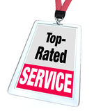 Top Rated Service Employee Badge Name Tag Customer Support. Top Rated Service words employee badge lanyard or nametag to illustrate a worker or customer support Royalty Free Stock Image