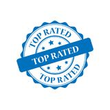 Top rated stamp illustration. Top rated blue stamp seal illustration design Stock Photo