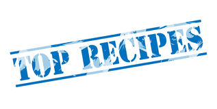 Top recipes blue stamp. Isolated on white background Stock Photos